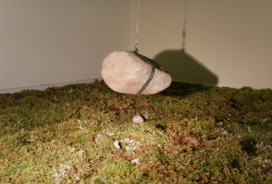 Relation I, 18 square meter moss and stone hanging from the ceiling.